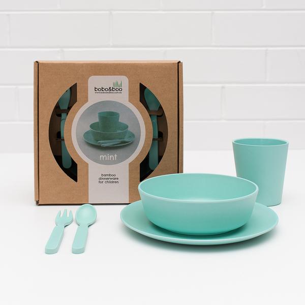 澳洲bobo&boo 竹纖維馬卡龍餐具組-薄荷綠