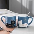 馬克杯 情侶杯子一對帶蓋勺情侶款馬克杯創意家用咖啡杯少女可愛陶瓷水杯 618購物節