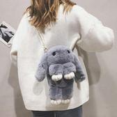斜背包 毛絨小包包女秋冬新款純色毛毛包小清新可愛裝死兔單肩側背包   可然精品