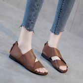 牛皮涼鞋 復古手工鞋  頭層牛皮羅馬鞋 魚嘴鞋 真皮休閒鞋/2色-標準碼-夢想家-0307