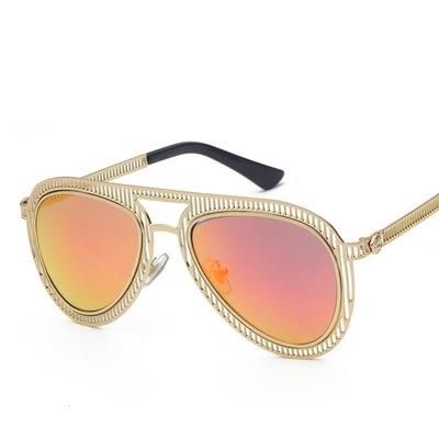 太陽眼鏡-偏光金屬鏤空直條紋路男女墨鏡4色73en38[巴黎精品]