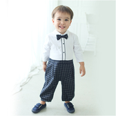 長袖連身衣 假兩件 紳士 西服 格紋 爬服 哈衣 男寶寶 小紳士 小花童 Augelute Baby 60305