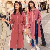 梨卡 - 韓國大牌感小香風氣質高品質雙排扣中長版西裝風衣外套大衣A570