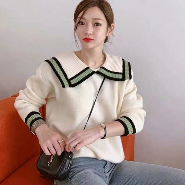 清倉388 韓國風海軍領針織衫學院風毛衣長袖上衣