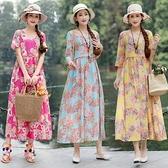 2020夏裝民族風復古V領印花棉麻短袖連身裙高腰顯瘦寬鬆大擺長裙 童趣