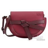 茱麗葉精品 【全新現貨 】LOEWE Gate Mini 綁結小牛皮斜背馬鞍包.樹莓紅