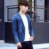 春秋季牛仔西裝外套男韓版修身牛仔夾克潮男裝上衣一粒扣小西服