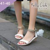 大尺碼女鞋-凱莉密碼-時尚金屬水鑽踝帶寬版真皮平底涼鞋2cm(41-46)【YGX15】白色