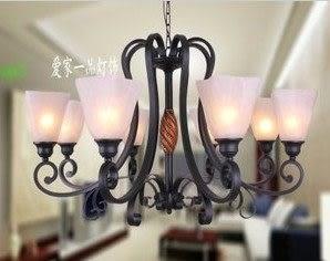 設計師美術精品館歐式鐵藝客廳8頭吊燈 簡約仿古燈飾 創意個性時尚燈具 美式鄉村燈