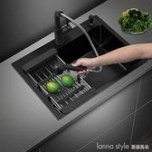 家用廚房黑色納米不銹鋼304大號水槽洗菜盆洗碗池單槽台下盆套餐 新品全館85折 YTL
