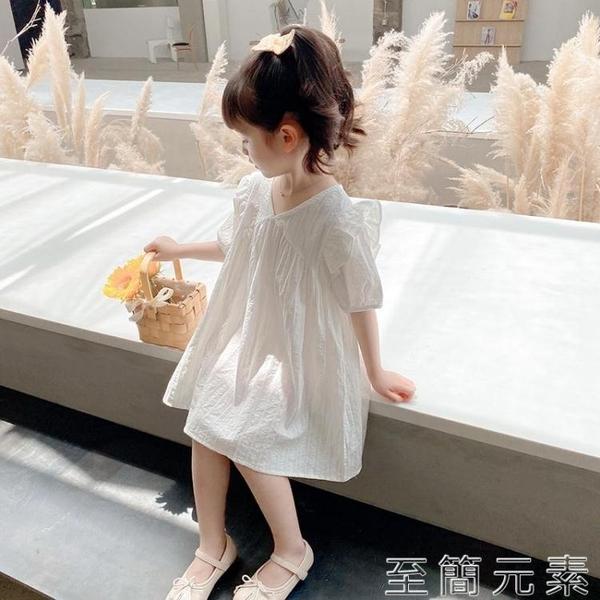 女童裝洋氣夏裝兒童2-9歲3寶寶4小童5仙女6公主洋裝子白色韓版8 至簡元素