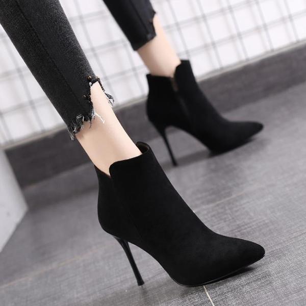 尖頭短靴女2020秋冬季新款黑色網紅馬丁靴高跟百搭細跟裸靴瘦瘦靴 果果輕時尚