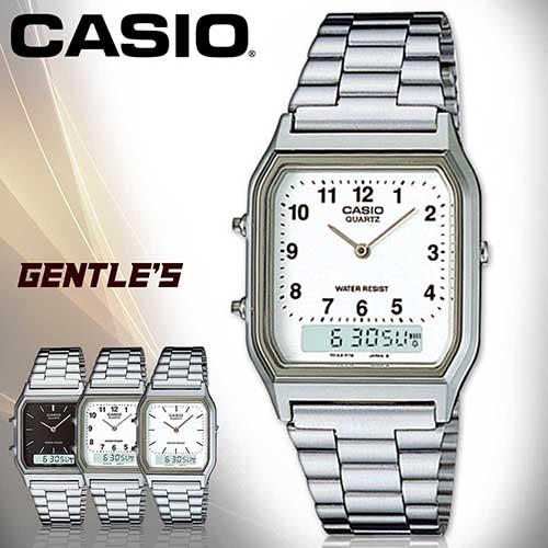 CASIO 卡西歐 手錶專賣店 AQ-230A-7B 男錶 白面數字 雙顯錶 不鏽鋼錶帶 日期  碼表 鬧鈴 兩地時間 防水