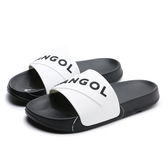 KANGOL 拖鞋 白黑 大LOGO 橡膠 一片拖 防水耐磨 男女 (布魯克林) 6025220100
