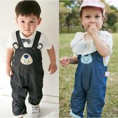 吊帶褲 小熊造型 牛仔 男寶寶 女寶寶 褲裝 連身衣 褲子 Augelute 70017