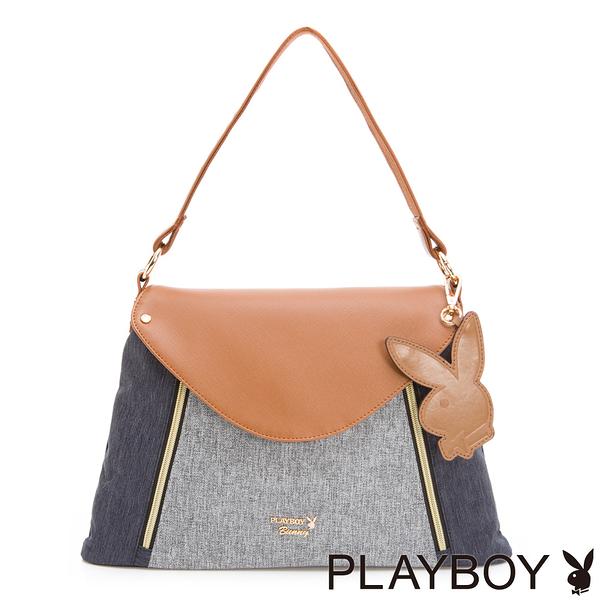 PLAYBOY- 2WAY肩背包 Light Up系列-丹寧藍