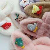韓版聖誕節兒童毛絨圍巾女加厚1-3-6歲男寶寶圍脖冬季保暖卡通潮