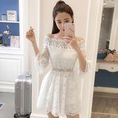 2018夏季新款女裝韓版氣質名媛一字領露肩花邊蕾絲收腰大擺連衣裙