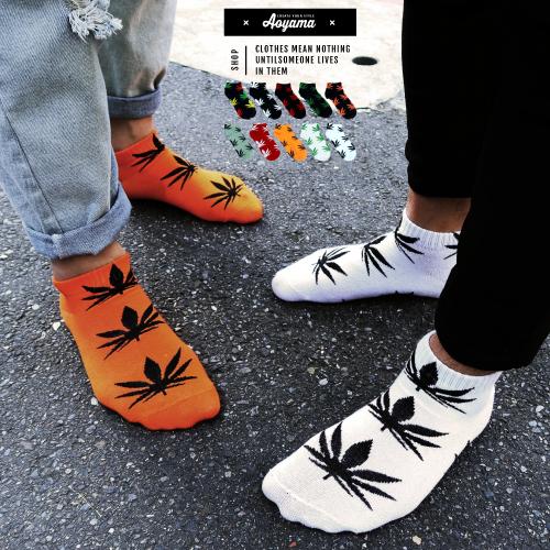 襪子 經典不敗 大麻葉 10色 短襪 滿版 大麻葉 滑板 穿搭 搭配 高筒襪 現貨 大麻 襪子【AH08】