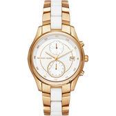 Michael Kors MK Briar 雙時區手錶-白x雙色錶帶/40mm MK6466