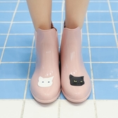 貓咪時尚雨鞋女成人短筒水鞋夏季韓國低筒膠鞋可愛雨靴防滑