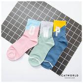 Catworld 正韓空運*個性英文跳色棉質長襪【18900185】‧F