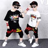 男童嘻哈短袖夏裝 2019新款潮片運動套裝 夏季男童哈倫兩件套