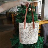水桶包 韓版森繫蕾絲唯美單肩包手提包女士大容量水桶購物袋 芊惠衣屋