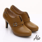 A.S.O 輕透美型 真皮簡約條帶飾釦高跟鞋 土黃色