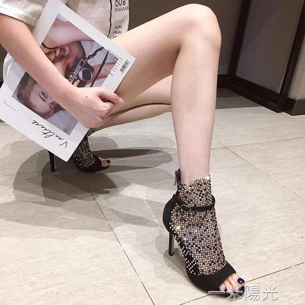 黑色同款水鑚涼靴網紗細跟高跟鞋一字扣帶露趾羅馬涼鞋女  聖誕節免運