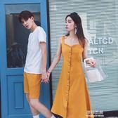 情侶裝套裝韓版百搭短袖T恤男女連衣裙氣質衣服 伊衫風尚