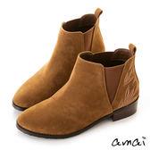 amai微尖頭葉片刺繡設計彈性拼接短靴 棕