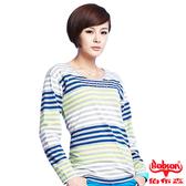 【BOBSON】女款燙鑽配色條紋長袖上衣(33105-53)