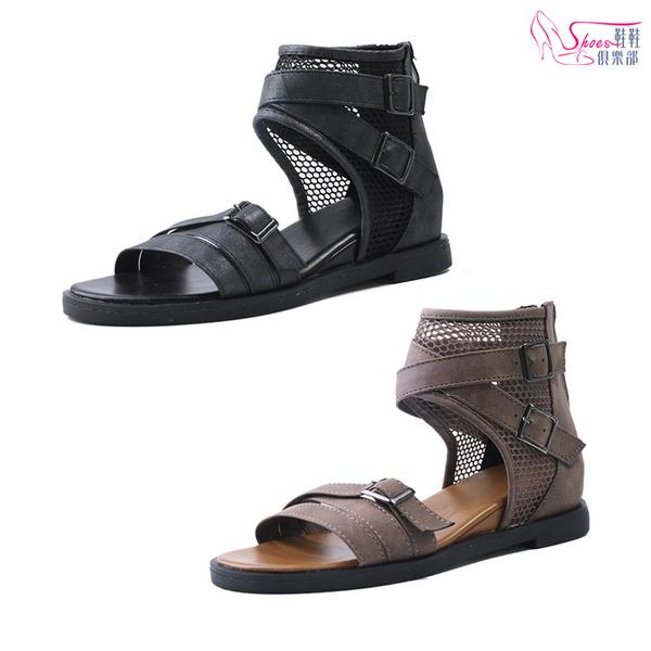 涼鞋.街頭風羅馬平底涼鞋.黑/棕【鞋鞋俱樂部】【054-Q8478】
