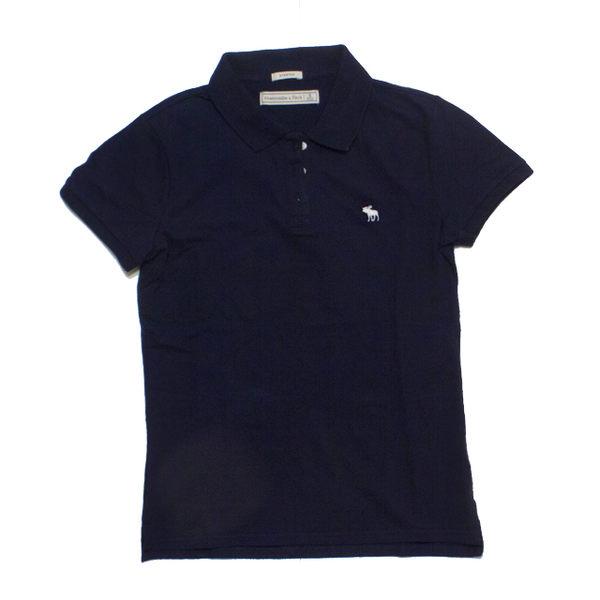 A&F 小麋鹿白 Logo素色POLO衫(女-深藍色S)
