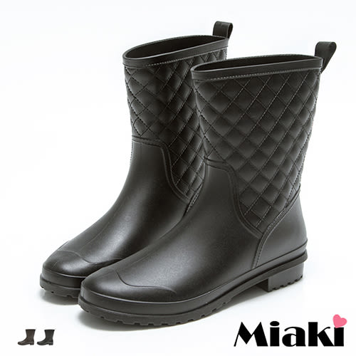 雨靴韓皮質菱形格紋中筒低跟包鞋