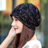 聖誕節 帽子女春夏韓版時尚套頭帽秋冬薄款頭巾帽月子帽堆堆帽鏤空孕婦帽 熊貓本