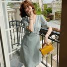 短袖印花洋裝中長裙(二色S-XL可選)/設計家 ZY150