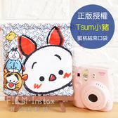 菲林因斯特~手繪Tsum 小豬藍蜜桃絨束口袋~  Disney 迪士尼滋姆