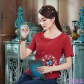 實拍民族風繡花復古文藝范短袖T恤寬鬆棉麻上衣女