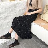 A字裙 2018夏裝新款韓版chic復古波點半身裙高腰百搭小魚尾中長款a字裙·夏茉生活