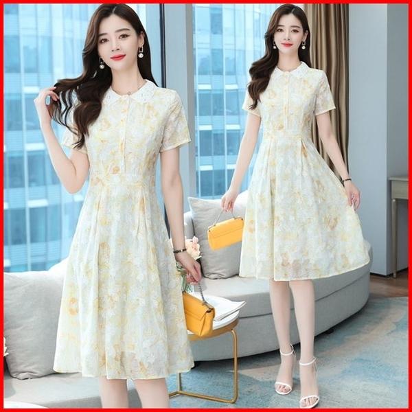 韓國風短袖洋裝 雪紡連衣裙女高端名媛氣質收腰顯瘦連身裙  依多多