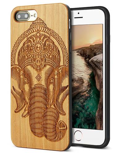 【美國代購】iPhone 7 plus 獨特原木木紋 手工雕花 保護殻, Retro Camera Engraving - Elephant 款式