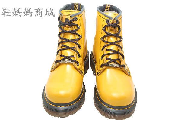 【鞋媽媽】[男女]全新AE馬丁鞋*6孔短靴*黃色*真皮*防滑防潑水*ae201
