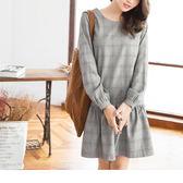 《DA5147-》細格紋縮口袖荷葉裙擺洋裝 OB嚴選