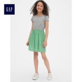 Gap女童 印花拼接圓領短袖洋裝 中大童夏裝兒童洋氣裙子 465075-麻灰色