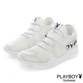 PLAYBOY 個性步伐 假綁帶輕量彈力運動鞋-白
