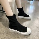 彈力襪子鞋女秋鞋網紅秋款女鞋秋冬新款潮鞋高筒運動休閒短靴 伊衫風尚