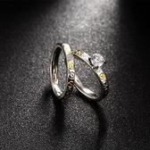 鈦鋼戒指 鑲鑽-雙層套戒精美別緻生日情人節禮物女飾品73le231[時尚巴黎]