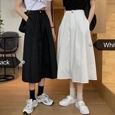 夏季2020新款ins風學生工裝A字裙高腰顯瘦中長款過膝白色半身裙女